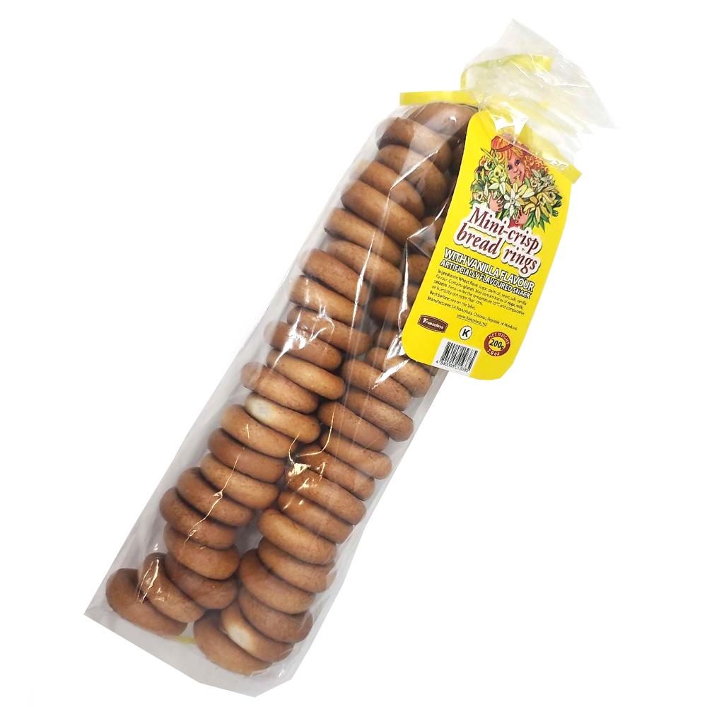 Mini Crisp Bread Rings with Vanilla Flavor, 7.05 oz / 200 g