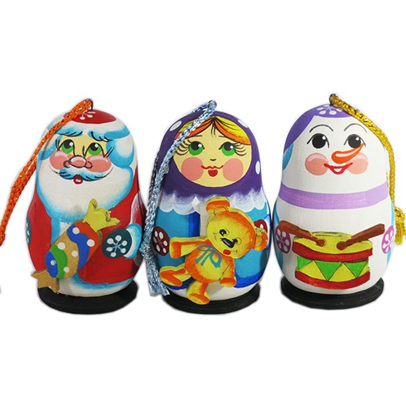 Father Frost, Snow Maiden and Snowman Wooden Handmade Christmas Tree Toys Set, 3 pcs, 2.5""