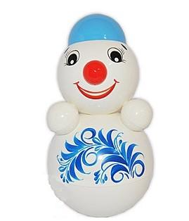 "Tumbler Toy, Roly-poly Baby Toy Nevalyashka ""Snowman"" with Sound, Medium 9""/23cm"