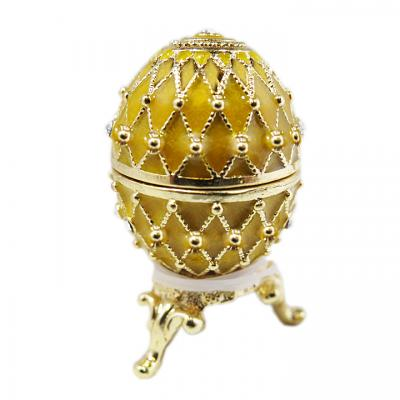 """Golden Miniature Russian Style Egg Box with Mesh Pattern, 1.5"""" (HEBS-300-10)"""