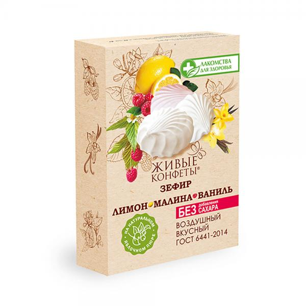 "Zefir Marshmallow SUGAR FREE Lemon, Vanilla, and Raspberry ""Live Candy"", 8.47 oz / 240 g"