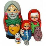 "Traditional Russian Nesting Doll. Fairy Tale ""The Turnip""/Repka, 6 pcs"