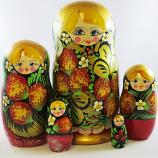 "Nesting Doll (Matryoshka) ""Berry 90*170"" Russian Traditional Souvenir, 5 Pcs, Height - 7"""