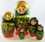 "Nesting Doll (Matryoshka) ""Berry Basket"" Russian Traditional Souvenir, 5 Pcs, Height - 7"""