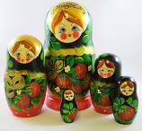 "Nesting Doll (Matryoshka) ""Berry Basket"" Russian Traditional Souvenir, 5 Pcs, Height - 7"""