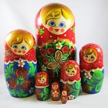 "Nesting Doll (Matryoshka) ""Berry. New 110*220"" Russian Traditional Souvenir, 7 Pcs, Height - 8.5"""