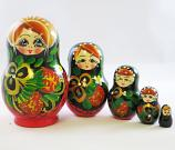 "Nesting Doll (Matryoshka) ""Malyok. Berries"" Russian Traditional Souvenir, 5 Pcs, Height - 3.5"""