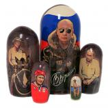 Vladimir Putin Traditional Russian Wooden Nesting Doll, 5 pcs, 7 inches