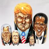 Donald Trump and Presidents of the USA Caricature Wooden Nesting Doll, 5 pcs, 7 inches