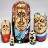 Vladimir Putin and Russian Leaders Caricature Russian Wooden Nesting Doll, 5 pcs, 4.8 inches