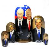 Vladimir Putin and Presidents of the USA Traditional Russian Wooden Nesting Doll, 5 pcs, 7""