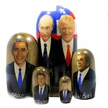 """Vladimir Putin - Donald Trump and Presidents of the USA, Traditional Russian Wooden Nesting Doll 5 pcs, 4,8"""""""