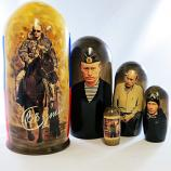 President Vladimir Putin Traditional Russian Wooden Nesting Doll, 5 pcs, 7""