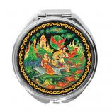 "Palekh Compact Mirror ""Ivan Tsarevich and the Grey Wolf"", 2.5"""