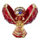 """Red Faberge Style Egg with a Flower Basket, 2.75"""" (HJD0897A+HJF1838)"""