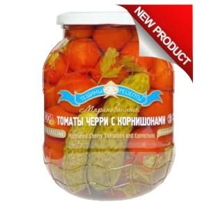 Premium Marinated Mix Cherry Tomatoes & Gherkins, Kosher, Tescha's Recipes, 900 ml/ 1.98 lb