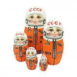 """Yuri Gagarin USSR Astronaut Nesting Doll Matryoshka, 4.5"""", 5 pcs"""
