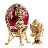 "Egg Trinket Box Tsarevich with Photo Frame RED, 4"" / 10 cm (JD1264+SF2080A)"