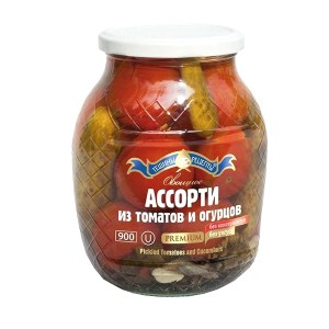 Assorted Pickled Tomatoes and Cucumbers without Preservatives and Vinegar, 900 g