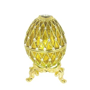 Mini Russian Style Egg Golden Mesh Pattern with Rhinestones (3 rows) GOLDEN, 1.5