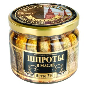 Smoked Sprats in Oil Riga Gold (Glass Jar), 8.92 oz / 270 g