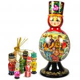"Matryoshka Barynya ""Winter"" with 7 Figurines (New Year Tree Ornaments), 9"""