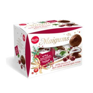 Chocolate-Glazed Maigums Zephyr with Riga Black Balsam Cherry Filling in a Gift Box, 6.53 oz /185 g