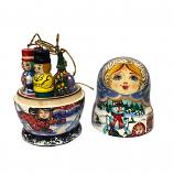 Exclusive Handmade and Hand Painted Matryoshka Korobeynik (blue), 5 pcs, 4.5""