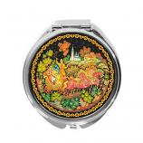 "Palekh Compact Mirror ""Russian Troyka"", 2.5"""