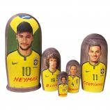 "Neymar and Brazil National Football Team Nesting Doll (gouache), 5 pcs, 6.75"" / 17 cm"