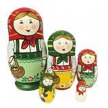 "Handmade Gouache Nesting Doll with A Basket, 5 pcs, 5"" (12.5 cm)"