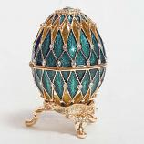 "Openwork Faberge Egg Lacy Box with the Clock (BLUE), 2.4"" / 6.5 cm (HJD0105CL-2)"