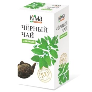 Premium Black Leaf Tea w/ Lemon Balm, KIMA, 50 g/ 0.11 lb