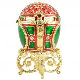 "Russian Style Easter Egg Trinket Box with Mesh Pattern, Crystals and Angels (red and green), 3.5"" / 9 cm (WS-JB90703K2)"