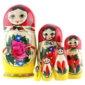 Russian Traditional Semyonovskaya Nesting Doll (Matryoshka), 6 Pcs, Height - 5.5