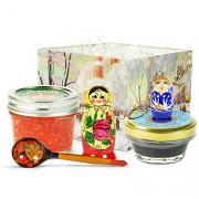 Russian Traditional Gourmet Gift Set with Black & Red Caviar