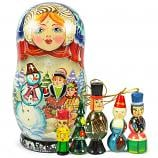 "Blue Matryoshka Korobeynik ""Snowman"" with 5 Figurines (New Year Tree Ornaments), 7"""