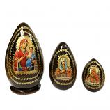 """Iversk Holy Mother of God"" Russian Icon Handmade Small Nesting Egg, 5.5"" (15 cm), 3 pcs"