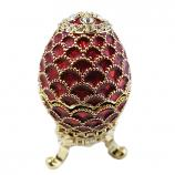 """Mini Faberge Style Egg """"Pine Cone"""" (red), 1.25"""" (HE0529)"""