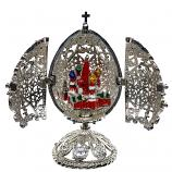 "Openwork Silver Faberge Egg with a Miniature of Saint Basil's Cathedral, 2.5"" / 7 cm (JD0947-1+JF1871-1)"