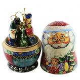 Santa Claus Big Nesting Doll Matryoshka Korobeynik with 6 Figurines, 8""