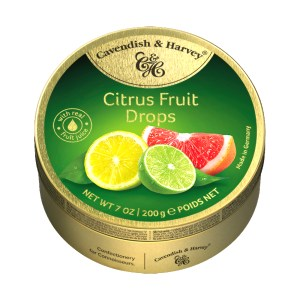 Hard Candy Drops Citrus Fruit, Cavendish and Harvey, Tin Can, 200g/ 0.44 lb