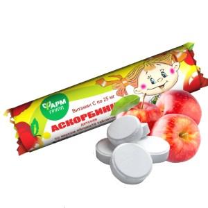 Apple-Flavored Ascorbic Acid, FarmGroup, 10 tablets x 3 g
