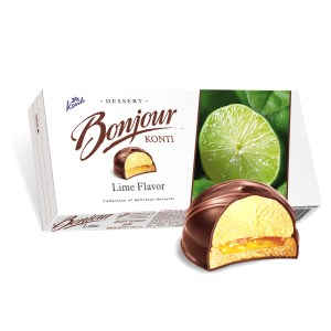 Chocolate Glazed Zefir Lime Flavor, Bonjour, 232 g