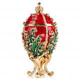"Faberge Style Egg Big Jewelry Box ""Lily"" RED, 5"" / 13 cm (WS-JB80889J1-M)"