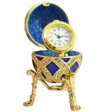 "Russian Style Egg with Weaving Golden Pattern and a Clock (blue), 2.8"" / 7 cm (WS-JB90695K2-C)"