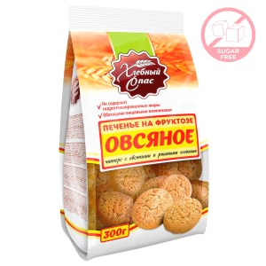 Sugar-Free Cookies w/ Oatmeal and Rye Flakes, Khlebni Spas, 300 g/ 0.66 lb