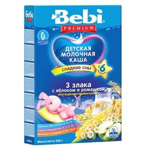 Bebi Premium Milk Porridge 3 Grains with Apple and Chamomile, 7.05 oz / 200 g