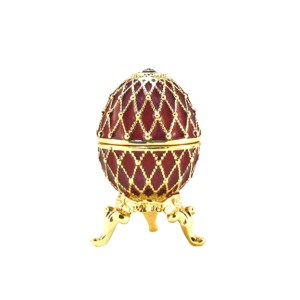 Mini Russian Style Easter Egg Trinket Box RED, 1.5
