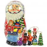 "Matryoshka Korobeynik ""Ded Moroz"" with 5 Figurines (New Year Tree Ornaments), 7"""